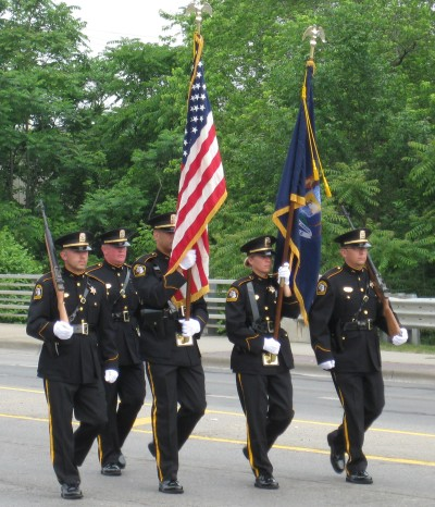 Honor guard marching in Memorial Day parade